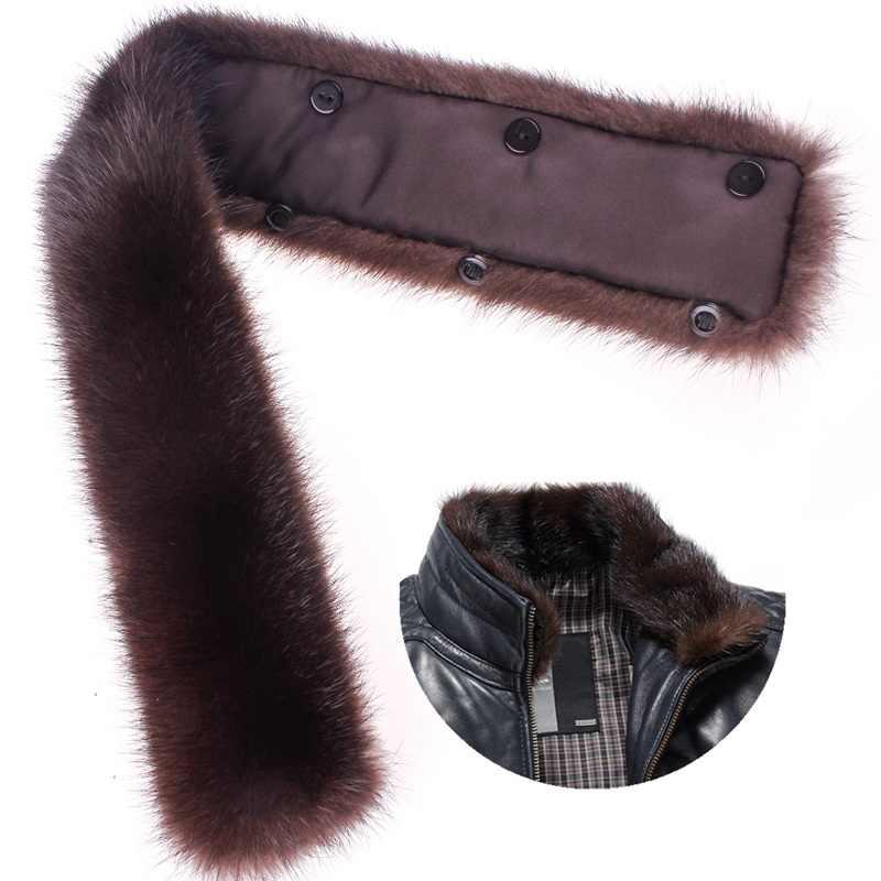 Hiver hommes réel vison fourrure col de cuir manteau solide chaud hommes véritable fourrure col montant noir brun bouton doublure
