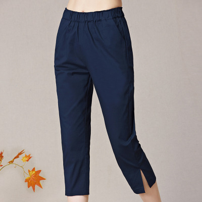 2018 Summer Women Calf-length   Pant   High Quality Cotton Linen   Pants   Casual Elastic Waist Trousers   Capris   For Women Pantalon Femme