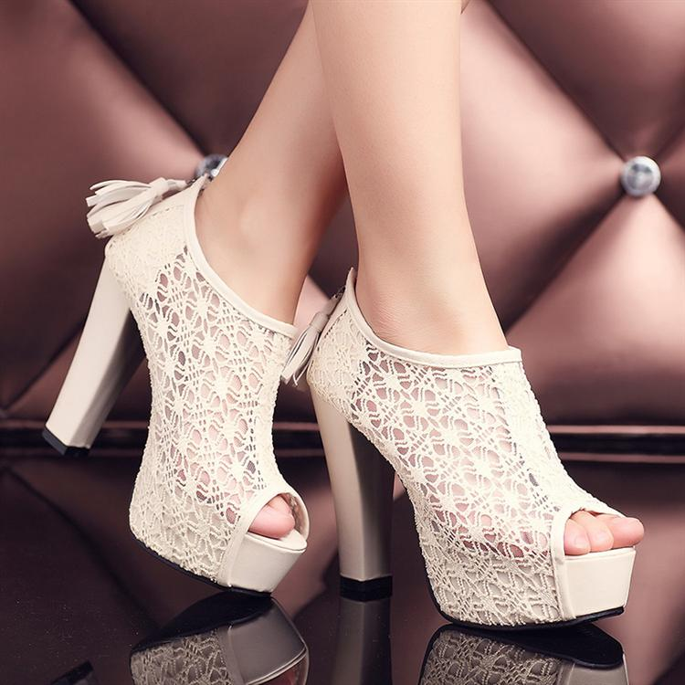 New Peep Toe Platform High Heel Shoes Ankle Boots Pumps Sandals Lace Wedding Hot