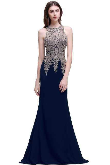 Online Shop Babyonline Robe De Soiree Mermaid Prom Dresses 2019 Gold Lace  Applique Sexy Sheer Back Floor Length Formal Evening Dress  ad7bd85726c8