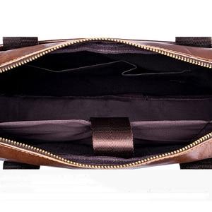 Image 5 - 本革メンズブリーフケースヴィンテージビジネスコンピュータバッグファッションメッセンジャーバッグ男性ショルダーバッグ郵便配達男性ハンドバッグ
