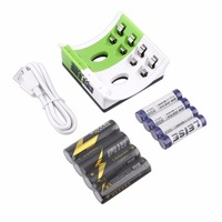 LEISE Rechargeable Batteries 4 Slots Smart Charger With LED Indicator USB Cable AA AAA Battery Charger