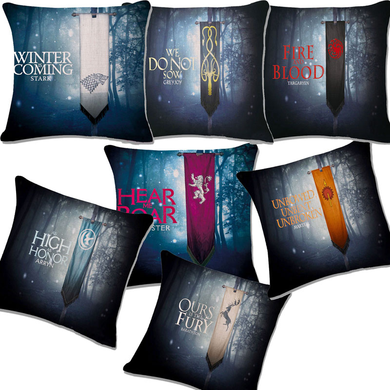 comwarm game of thrones pattern throw pillow family clan totem flag cushion sofa car chair seating - Popular Throw Pillows