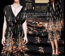 High Quality designer crepe-de-chine 100% Pure silk fabrics digital printing plain black fabric Light yellow plants 1meter A028