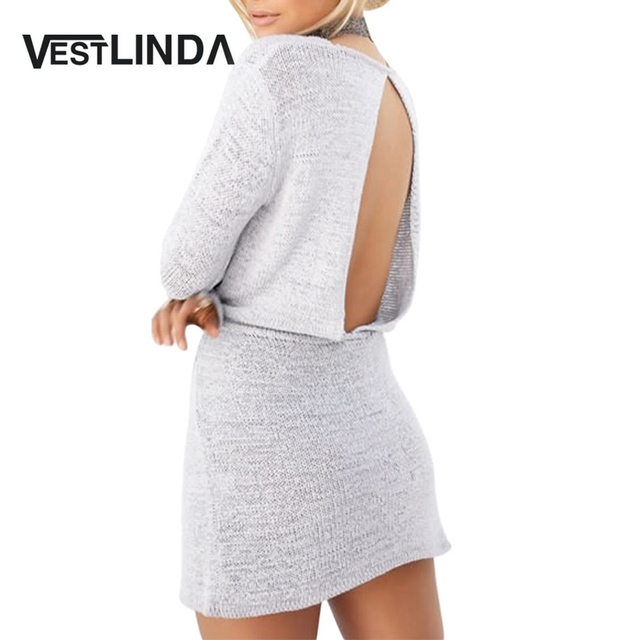 VESTLINDA 2017 Fall Fashion Casual Round Collar Long Sleeve Backless  Drawstring Gray Mini Dress for Women e9069f9c08ab