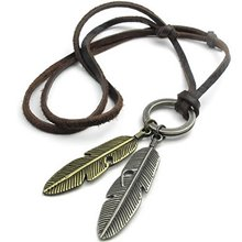 Jewelry Men's Ladies Necklace, Angel Spring Pendant with Leather Necklace