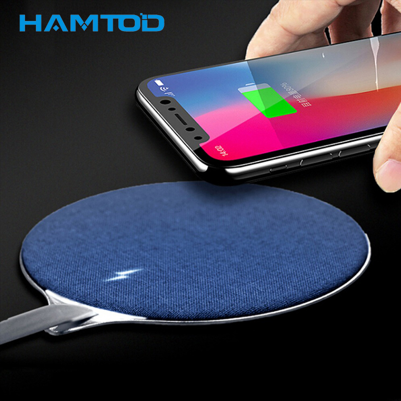 HAMTOD HF20 blue non-slip Qi wireless Charger for Doogee S60 and mobile charger for iPhone X / 8 / 8 Plus