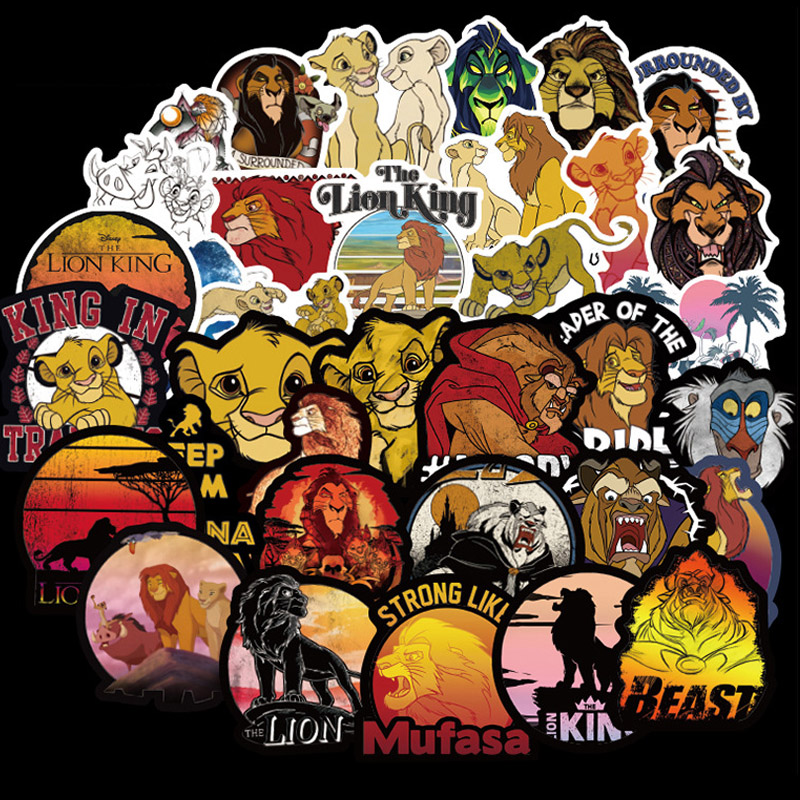 50 Pcs Lion King Stickers Simba TIMON PUMBAA Animal Decals Sticker To DIY Laptop Suitcase Guitar Fridge Bicycle Motorcycle Car