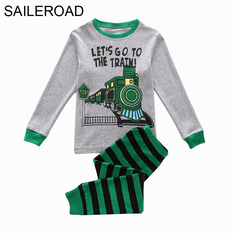 SAILEROAD 2-7 Years Train Prattern Nightwear Pijamas Warm for Baby Boys Autumn Children's   Pajamas     Sets   Kids Fall Clothes   Sets