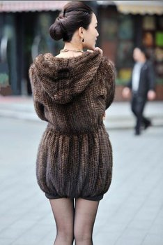 100% EUROPEAN MINK FUR KNITTED LONG COAT WITH HOOD/ REAL MINK FUR JACKET* FREE SHIPPING*BE1249 4