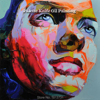 Hand painted Francoise Nielly Palette knife portrait Face Oil painting Character figure canva wall Art picture12-33