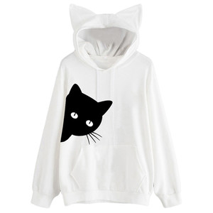 Harajuku Cat Kawaii Hoodie Lolita Junior Cute Ear Hoody Pullover Student Girls Spring School Clothes Anime Lovely Paws Tops#5%