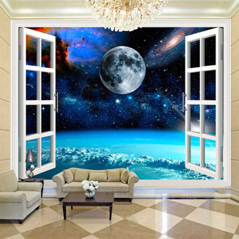 custom wall mural galaxy moon 3d poster photo wall paper. Black Bedroom Furniture Sets. Home Design Ideas