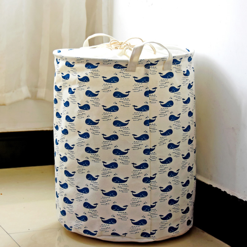 Cartoon Animals Storage Baskets Canvas Hamper Round Laundry Bin For Baby Nursery Toys Clothing