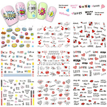 1 Sheet Love Heart Letter Nail Art Decals Water Transfer Nail Stickers Manicure Decor Sweet Decal Valentine's Day BEBLE2524-2534