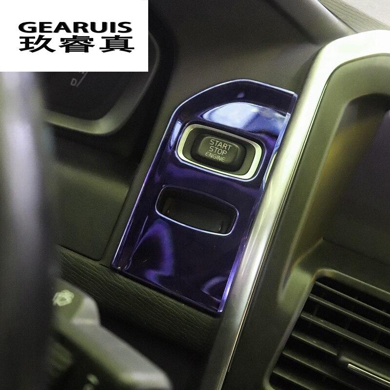 Cubierta decorativa especial de la cubierta del panel de la cerradura del Interior del coche etiqueta de la cubierta del llavero de la tira de acero inoxidable azul para Volvo XC60 XC70