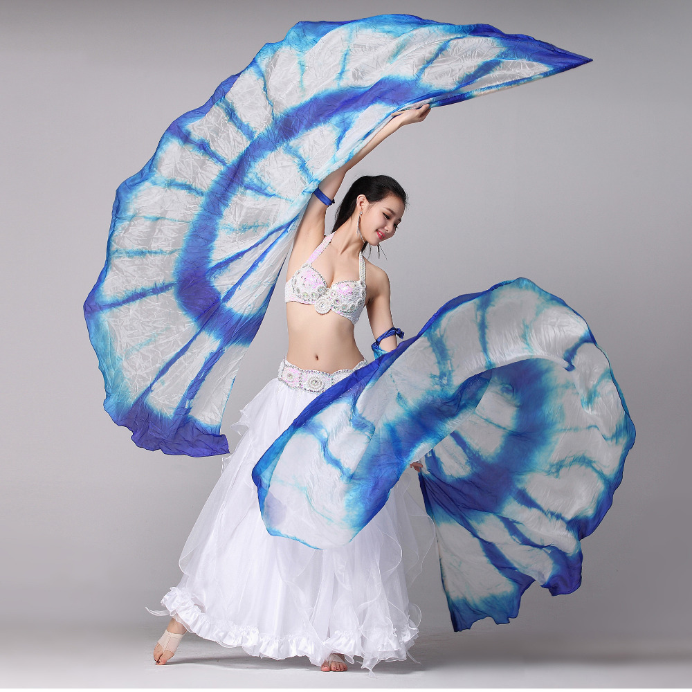 1 Pair Stage Performance Props Half Circle Silk Veil Dance 100 Silk Right Left Hand Belly