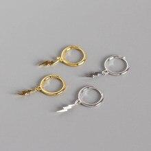 Sterling 925 Silver Lightning Drop Earrings Tassel Chic Korea Style Minimalist Fashionable Womens Earring Jewelry
