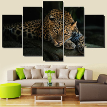 Art Home Frame Living Room HD Printed Modern 5 Panel Leopard Animal Modular Decoration Posters Picture On Canvas Wall Painting