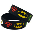 50PCS/Lot 1 Inch Wide Super Heroes Silicone Wristband Bracelet