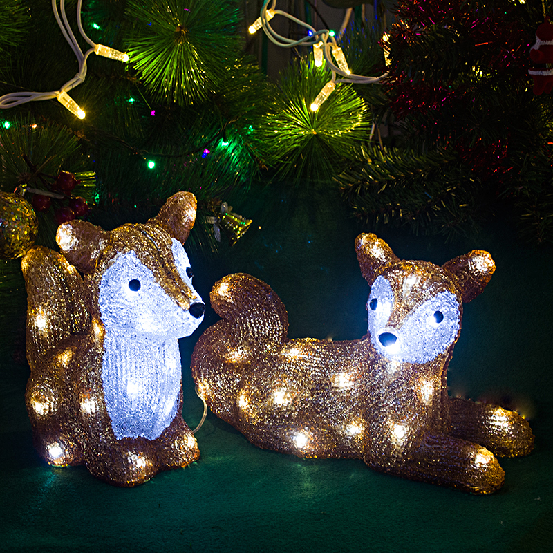 Cute 3D Squirrel Decoration Lighting - 29cm Tall Christmas Ornaments Outdoor Xmas Tree Lights Garden Decoration LED Lighting