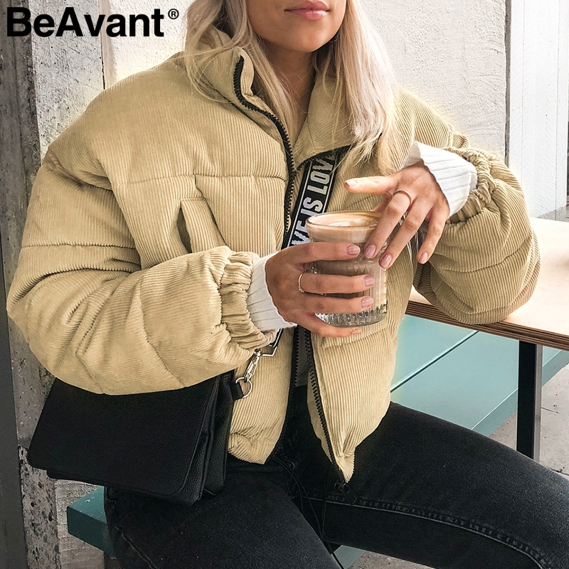 BeAvant Khaki corduroy winter jacket women coat Warm padded   parka   jacket 2018 Streetwear casual short jacket autumn overcoat