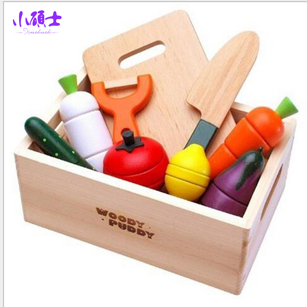Wooden Vegetables Fruit Kitchen Cutting For Children Kids Early Education Learning Food Games Magnetic Toys Gift montessori education wood blowers traditional blowing games interactive games children early education puzzle toys