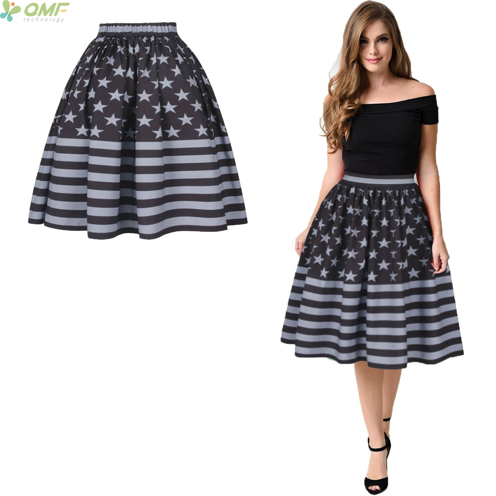 4bbc8d0fada70a Retro American Flag Print High Waist Women Ball Gown Star Spangled Banner  Bust Skirt Femme knee-length Skirts Fashion Quick Dry