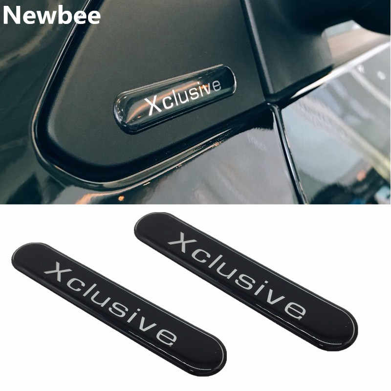 Newbee 2 Stuks Reflecterende 3D Auto Sticker Xclusive Embleem Badge Zijspiegel Decoratie Decal Universal Voor Smart Brabus 2007-2017