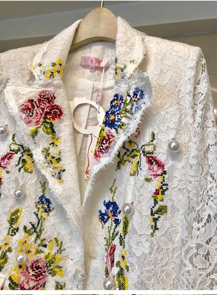 À Manches Petit Blazers Mode Manteaux Longues Blazer Vestes Slim Brodé Dentelle Blanc Revers Femme Tempérament Costume Croix Fleur q08Pw