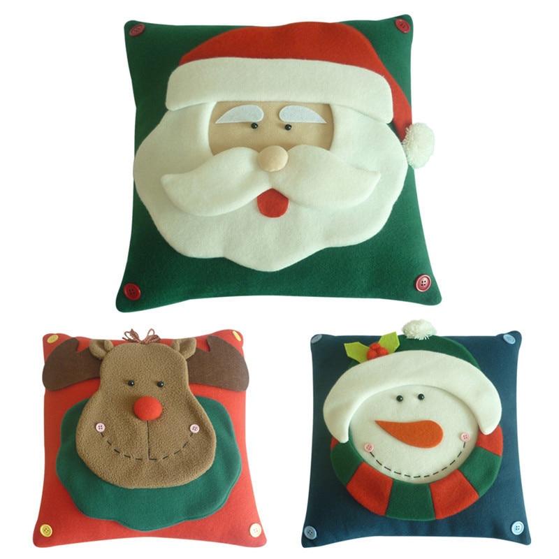 3D Christmas Pillow Cover Santa Claus Snowman Elk Chrismas Decoration Home Decorative Xmas Type Pillowcase 30*30cm Newest