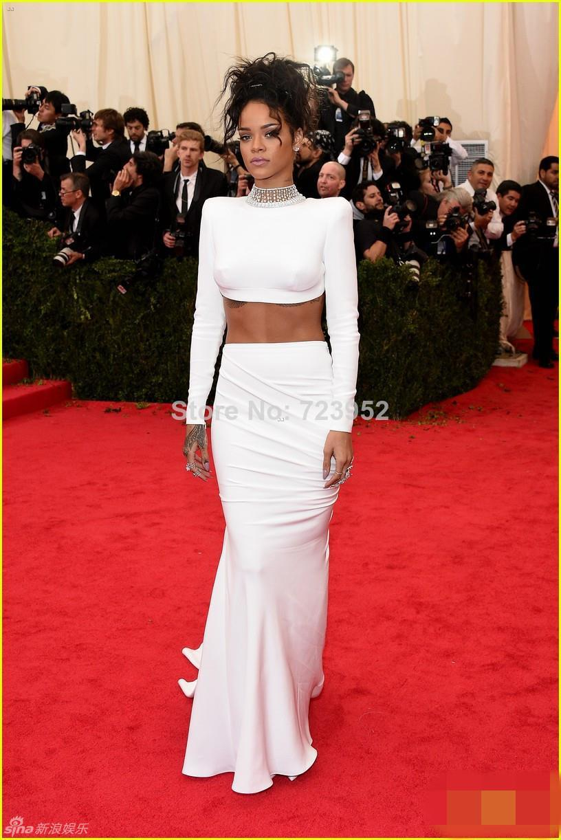 2016 Latest Met Gala Rihanna White Dress Jewelry High Neck Twp Piece Backless Mermaid Celebrity Dresses Red Carpet In Inspired From
