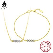 ORSA JEWELS Silver 925 Set Beads Natural Stone Silver Necklace+Bracelet For Women 18K Gold Plated Wedding Jewelry Sets OSS32 недорого