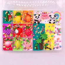 Panda Birthday Party Colorful Mix Cloud Slime Squishy Cute Fruit Slice Accessories Stretchy Charm Slime Kids Relief Stress Gift