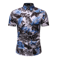 2019 Summer Shirt Men Casual Short Sleeve Men's Floral Shirts Hawaii Casual Male Flower Print Beach Holiday Camisa Plus Size 3XL