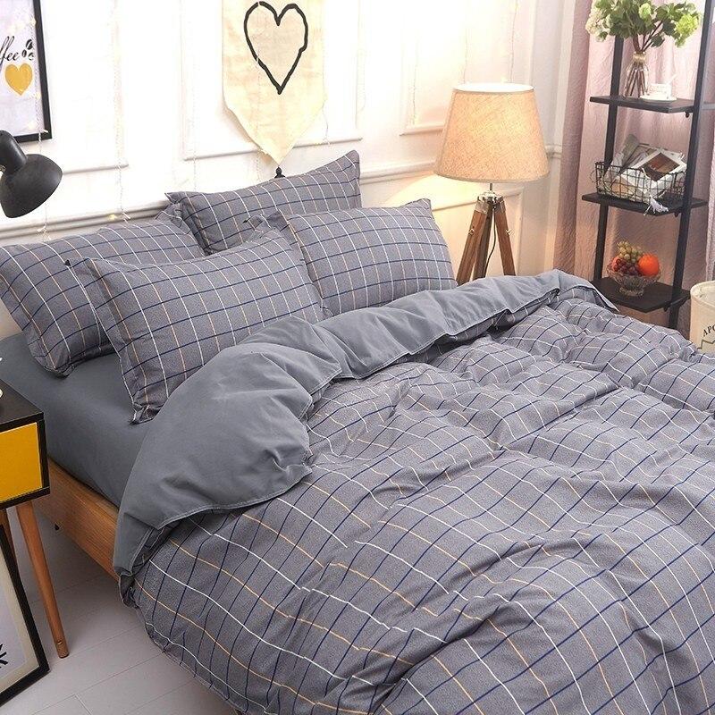 Solstice Home Textile Bedding Set Kid Teen Adult Boy Girl Bed Linen Plaid Duvet Quilt Cover Pillowcase Bed Sheet King Twin Queen