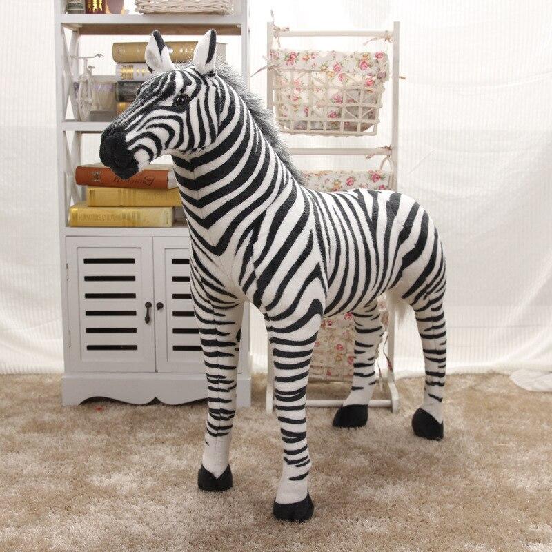 Simulation zèbre en peluche jouet grand 55x42 cm debout zèbre jouet décoration, cadeau d'anniversaire w1973