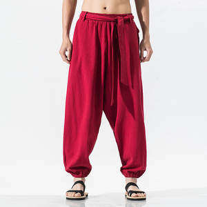 New 2020 Summer Wide Leg Pants Men Cotton Linen Bloom Pants Mens Red Chinese Style Harem Pants Male Trousers Pantalon Hombre