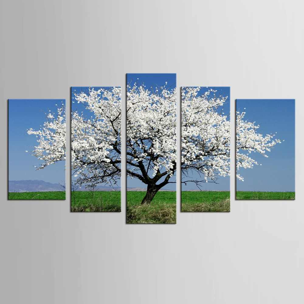 5 pcs  White Plum Blossom Flower Tree Landscape Canvas Painting Unique Wall Decoration for Home Painting