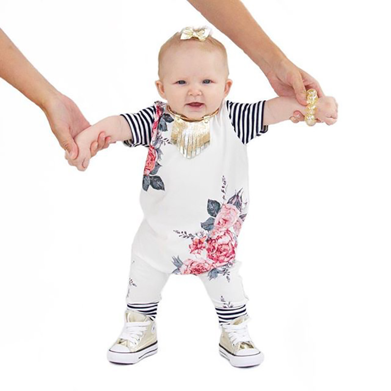 2018 Newborn Girl Clothes Sweet Floral Tiny Cottons Baby Romper Jumpsuit Summer Short Sleeve Baby Onesie Costume Clothing 0-24m