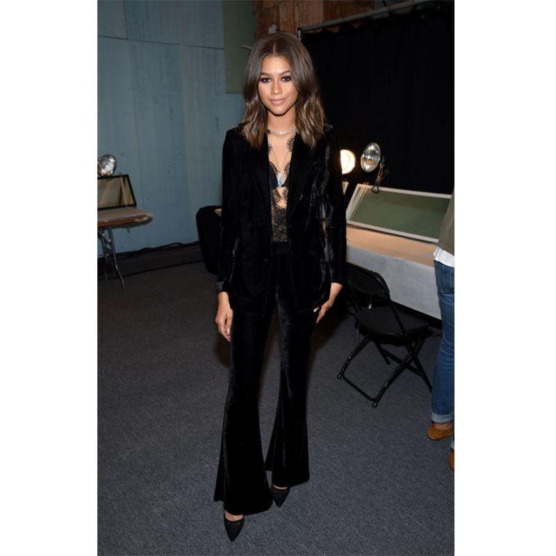 Новый черный бархат расклешенные штаны костюмы для женщин Бизнес костюмы женские брюки костюмы смокинги B106