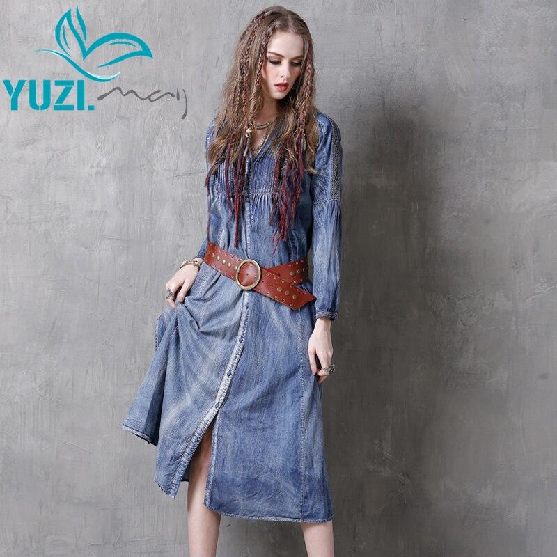 Autumn Dress 2017 Yuzi may Boho New Denim Dresses V Neck Lace Patchwork Single Breasted Dress