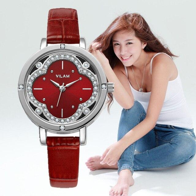 women watches 2017 VILAM Quartz-Watch Flowers Diamond Crystal quartz wristwatches box Designer  Ladies watches gifts  V1013L