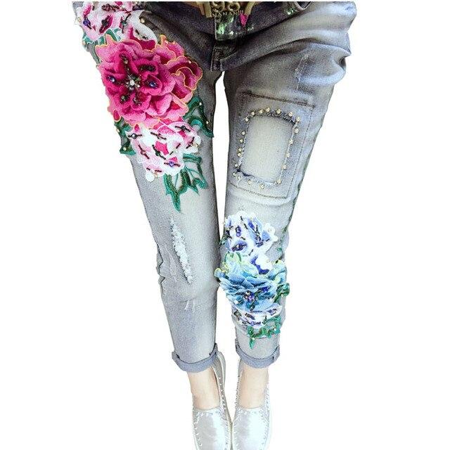 3D Вышивка Джинсы Женские 2017 Мода Джинсовая Вышитые Цветы Вышивка Почесал Джинсы Женщина Случайные Тощий Бисером Брюки