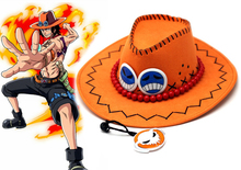 Free Shipping One piece Portgas D Ace Orange and Black West Cowboy Anime Cosplay Hat