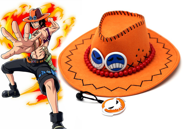 Free Shipping One piece Portgas.D. Ace Orange and Black West Cowboy ... 0144f336c59