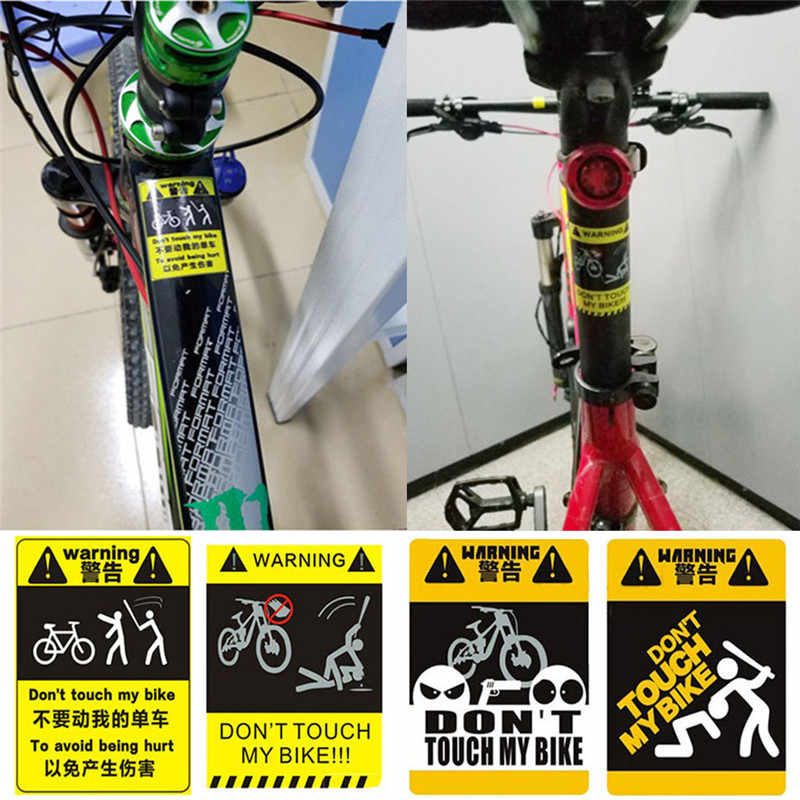 Don't Touche My Bike Single - Vehicle Warning Sticker Bicycle Accessories MTB Frame Sticker Cycling Decorative Reflective Paste
