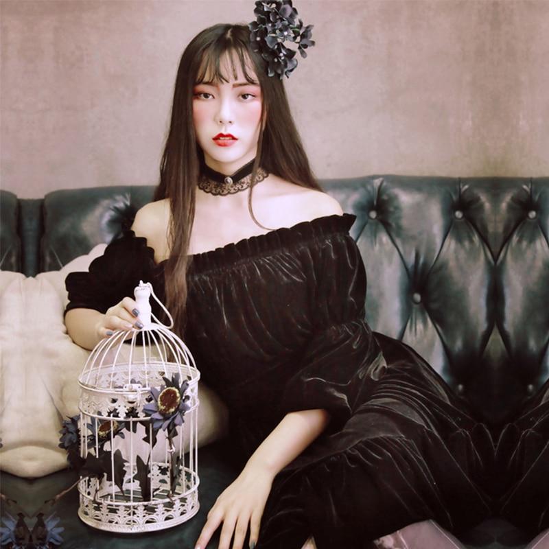 Vintage Palace Princess Dress Butterfly Sleeve Off the Shoulder Retro Lolita Vestidos Femininos Autumn Party Women Dresses