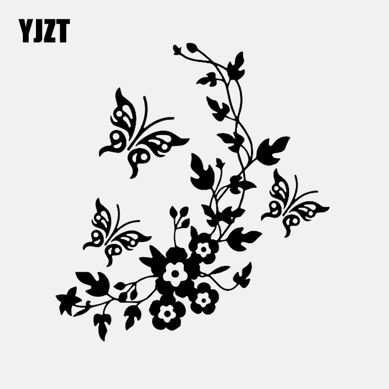 YJZT 14M*15.3CM Flowers And Butterflys Inspired Design Decor Art Decal Vinyl Car Sticker Black/Silver C24-0355