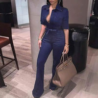 2018 New Bandage Denim Jumpsuit Women Long Bodysuit High Waist Playsuit Bodies Elegant Female Fashion Blue Jumpsuit Jean Overall